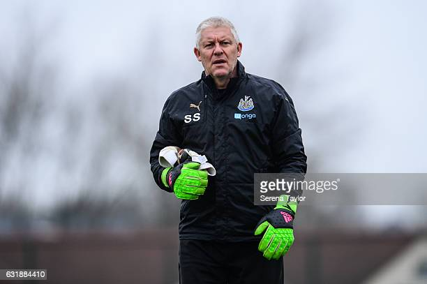 Newcastle United's Goalkeeping Coach Simon Smith walks out on the training pitch during the Newcastle United Training Session at The Newcastle United...