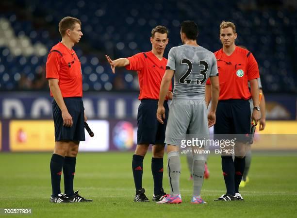 Newcastle United's Haris Vuckic speaks with referee Christian Bandurski