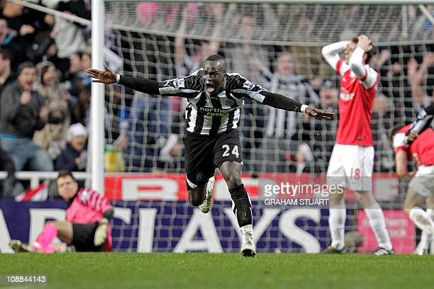 Newcastle United's Ivorian midfielder Cheik Tiote celebrates scoring their equalizing goal during the English Premier League football match between...