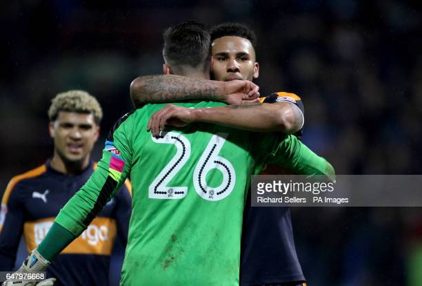 Newcastle United's Jamaal Lascelles and goalkeeper Karl Darlow celebrate after the final whistle during the Sky Bet Championship match at the John...