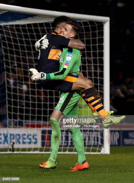 Newcastle United's Jamaal Lascelles celebrates victory with goalkeeper Karl Darlow at the final whistle during the Sky Bet Championship match at the...