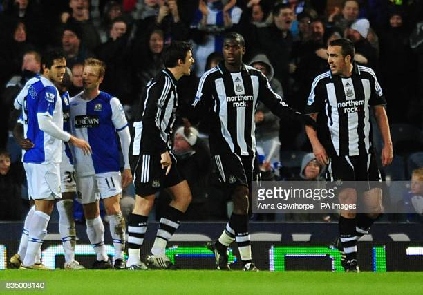 Newcastle United's Joey Barton has an altercation with team mate Sanchez Jose Enrique after Blackburn Rovers' score the third goal