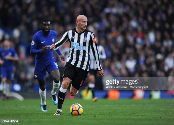 Newcastle United's Jonjo Shelvey holds off the challenge from Chelsea's Tiemoue Bakayoko during the Premier League match between Chelsea and...