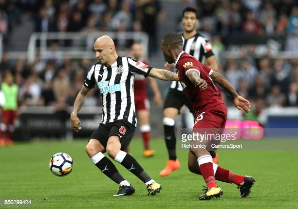 TYNE ENGLAND OCTOBER Newcastle United's Jonjo Shelvey under pressure from Liverpool's Daniel Sturridge during the Premier League match between...