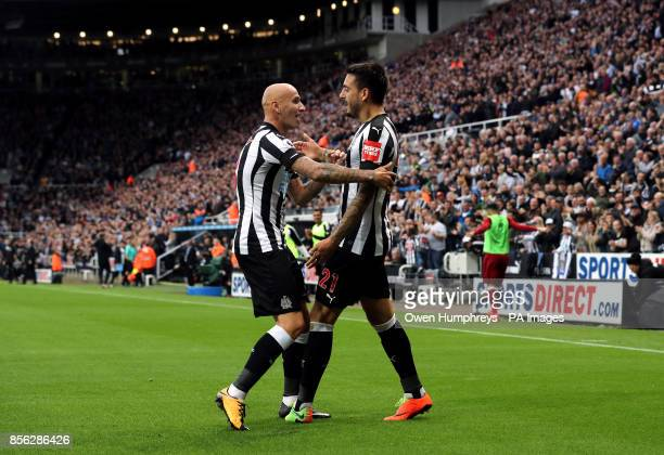 Newcastle United's Joselu celebrates scoring his side's first goal of the game with Jonjo Shelvey during the Premier League match at St James' Park...