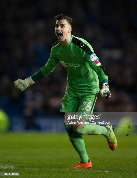 Newcastle United's Karl Darlow celebrates their 21 victory in the Sky Bet Championship match between Brighton Hove Albion and Newcastle United at...