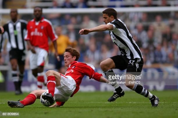 Newcastle United's Laurent Robert misses the ball from under the feet of Charlton Athletic's Scott Parker