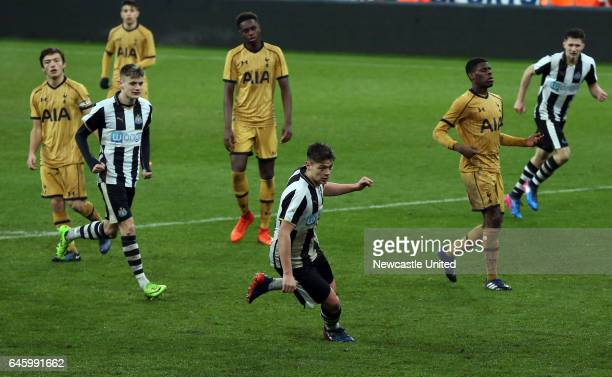 Newcastle United's Lewis McNall center celebrates his goal during the Quarter Final of the FA Youth Cup between Newcastle United and Tottenham...