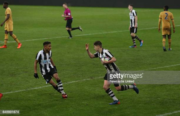 Newcastle United's Lewis McNall right celebrates his goal during the Quarter Final of the FA Youth Cup between Newcastle United and Tottenham Hotspur...