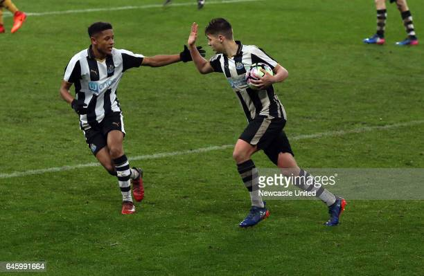 Newcastle United's Lewis McNall right celebrates his goal with Adam Wilson left during the Quarter Final of the FA Youth Cup between Newcastle United...
