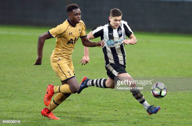 Newcastle United's Lewis McNall right vies for the ball with Tottenham Hotspurs' Jonathan Dinzeyi left during the Quarter Final of the FA Youth Cup...