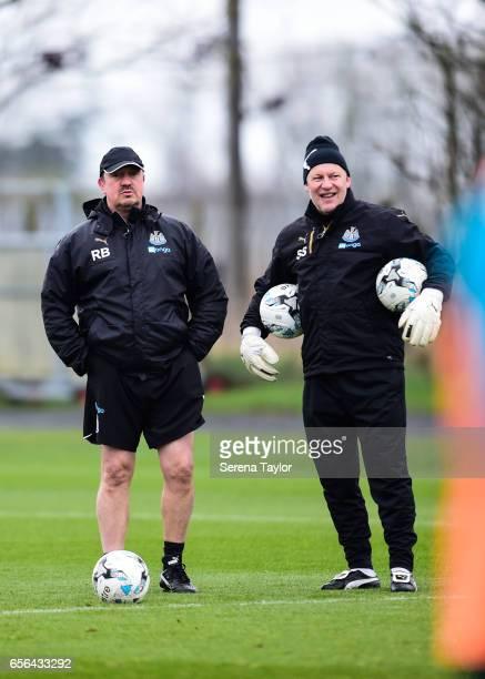 Newcastle United's Manager Rafael Benitez and Newcastle Unitedâs Goalkeeping Coach Simon Smith look on during the Newcastle United Training Session...