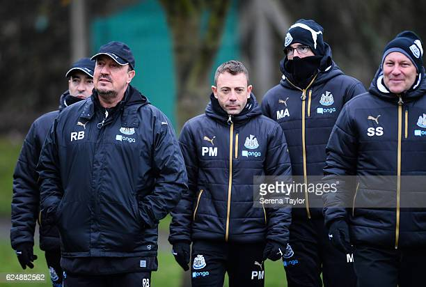 Newcastle United's Manager Rafael Benitez arrives with staff seen LR Head of Analysis and First Team Coach Antonio Gomez Perez Assistant Manager...