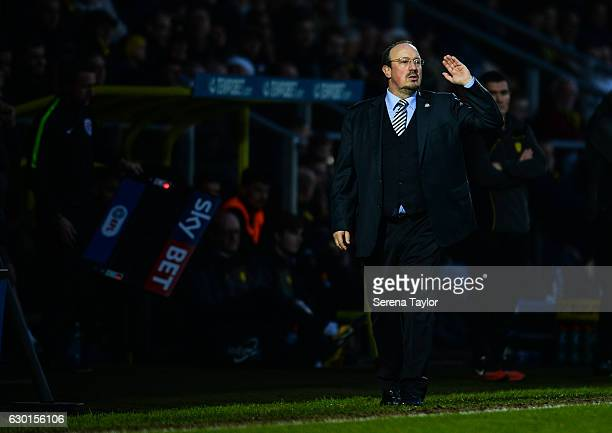 Newcastle United's Manager Rafael Benitez gestures from the sidelines during the Sky Bet Championship match between Burton Albion and Newcastle...
