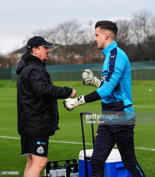 Newcastle United's Manager Rafael Benitez is greeted by Karl Darlow during the Newcastle United Training Session at The Newcastle United Training...