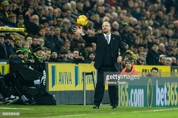 Newcastle Unitedâs Manager Rafael Benitez looks to catch the ball during the Sky Bet Championship match between Norwich City and Newcastle United at...