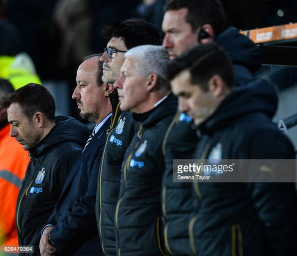 Newcastle Unitedâs Manager Rafael Benitez pays respect for the victims of the colombian flight that crashed prior to kick off of the EFL Cup Quarter...