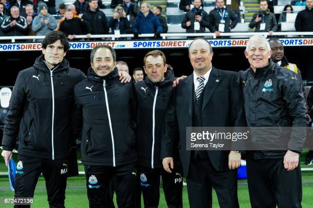 Newcastle United's Manager Rafael Benitez poses for a photo with his senior backroom staff seen LR Newcastle United's First Team Coach Mikel Antia...