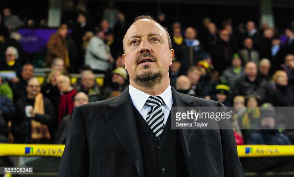 Newcastle Unitedâs Manager Rafael Benitez stands in the dugouts prior to kick off of the Sky Bet Championship match between Norwich City and...