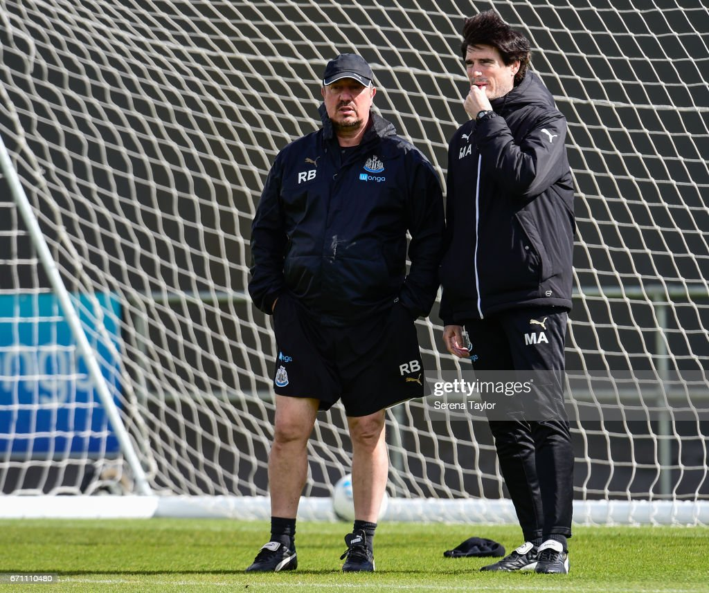 Newcastle United's Manager Rafael Benitez (L) stands in the goalmouth with Newcastle United's First Team Coach Mikel Antia (R) during the Newcastle United Training Session at the Newcastle United Training Ground on April 21, 2017 in Newcastle upon Tyne, England.