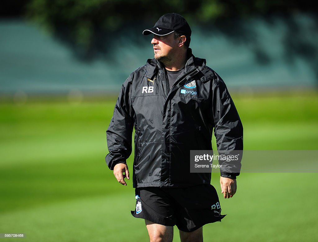 Newcastle United's Manager Rafael Benitez walks on the pitch during the Newcastle United Training Session at The Newcastle United Training Centre on...