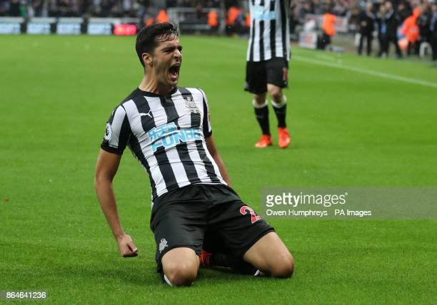 Newcastle United's Mikel Merino celebrates scoring his side's first goal of the game during the Premier League match at St James' Park Newcastle