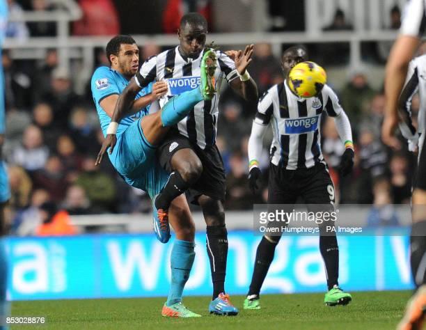 Newcastle United's Moussa Sisoko and Tottenham Hotspur's Etienne Capoue during the Barclays Premier League match at St James' Park Newcastle