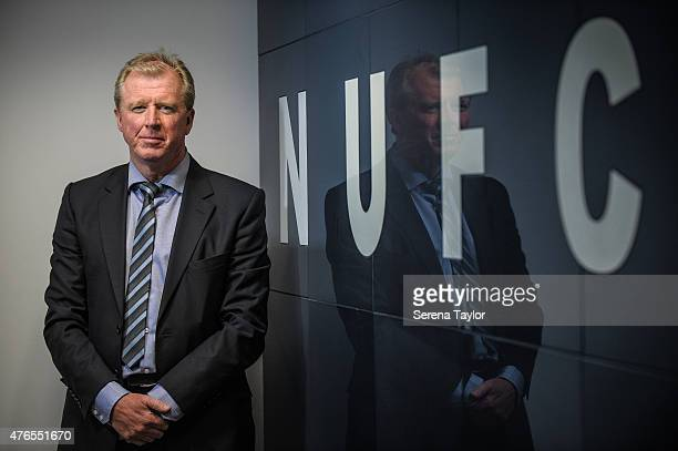 Newcastle United's New Head Coach Steve McClaren poses for photographs with the NUFC sign at StJames' Park during the Newcastle United Photo call on...