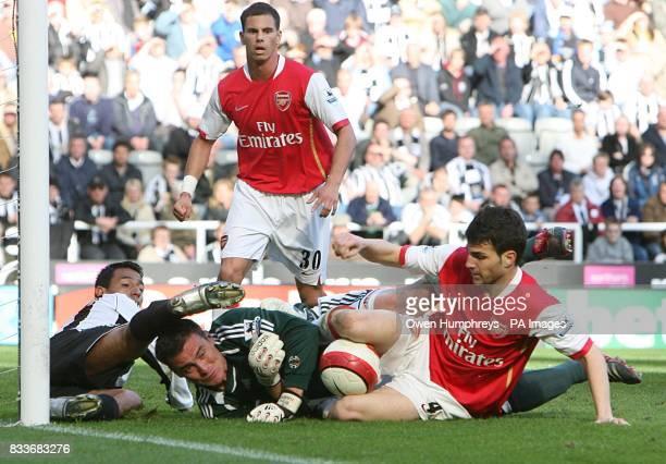 Newcastle United's Nolberto Solano and goalkeeper Steve Harper clash with Arsenal's Francesc Fabregas