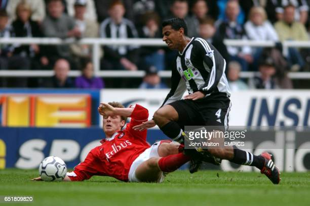 Newcastle United's Nolberto Solano battles for the ball with Charlton Athletic's Scott Parker