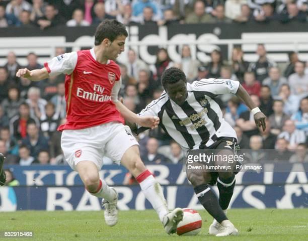 Newcastle United's Obafemi Martins and Arsenal's Francesc Fabregas battle for the ball