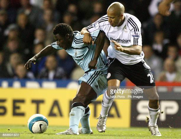 Newcastle United's Obafemi Martins and Derby County's Tyrone Mears