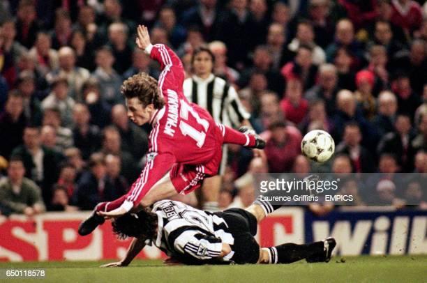 Newcastle United's Philippe Albert brings down Liverpool's Steve McManaman