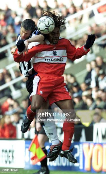 LEAGUE Newcastle United's Robert Lee jumps for the ball with Middlesbrough's Christian Karembeu during the Premiership game at St James' Park...