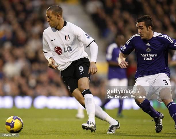Newcastle United's Sanchez Jose Enrique and Fulham's Bobby Zamora