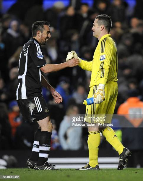 Newcastle United's Sanchez Jose Enrique and goalkeeper Shay Given congratulate each other after holding Chelsea to a Nil Nil draw