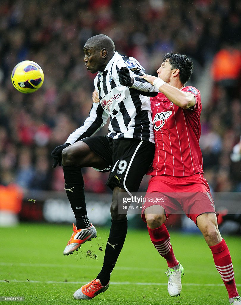 "Newcastle United's Senegalese striker Demba Ba (L) vies with Southampton's Portuguese defender Jose Fonte (R) during their English Premier League football match at St. Mary's Stadium, Southampton, southern England, on November 25, 2012. Southampton won the match 2-0. USE. No use with unauthorized audio, video, data, fixture lists, club/league logos or ""live"" services. Online in-match use limited to 45 images, no video emulation. No use in betting, games or single club/league/player publications."