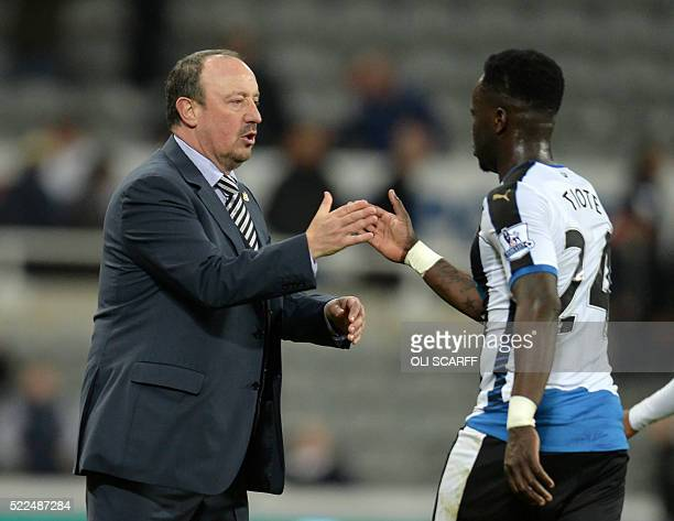 Newcastle United's Spanish manager Rafa Benitez congratulates Newcastle United's Ivorian midfielder Cheick Tiote after the English Premier League...