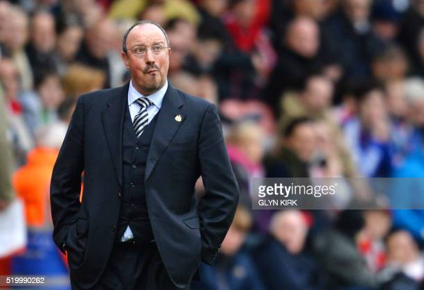 Newcastle United's Spanish manager Rafa Benitez reacts during the English Premier League football match between Southampton and Newcastle at St...