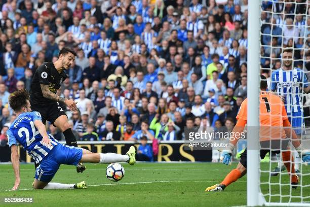 Newcastle United's Spanish striker Mato Joselu misses this chance during the English Premier League football match between Brighton and Hove Albion...