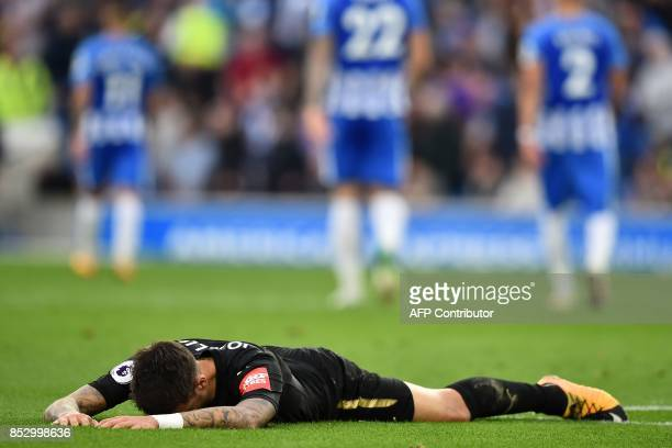 Newcastle United's Spanish striker Mato Joselu reacts after missing a chance during the English Premier League football match between Brighton and...