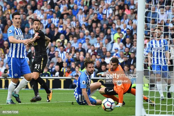 Newcastle United's Spanish striker Mato Joselu watches his shot go wide during the English Premier League football match between Brighton and Hove...