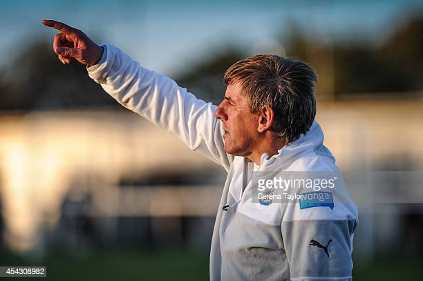 Newcastle United's Under 21 Manager Peter Beardsley points out instructions from pitch side during a Pre Season Friendly between Newcastle United's...