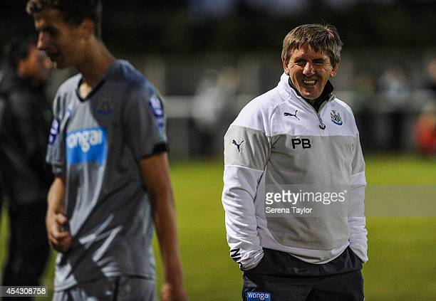 Newcastle United's Under 21 Manager Peter Beardsley smiles as Lubomir Satka is substituted during a Pre Season Friendly between Newcastle United's...