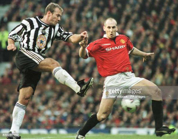 FEATURE Newcastle's Alan Shearer blasts a shot past Jaap Stam during today's Premiership clash with Manchester Utd at Old Trafford Final score 00...