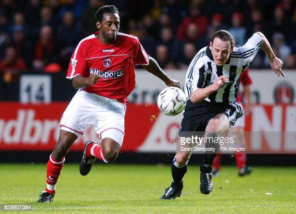 Newcastle's Andy O'Brien and Charltons Jason Euell race to be first on the ball during their Barclaycard Premiership match at Charlton's The Valley...