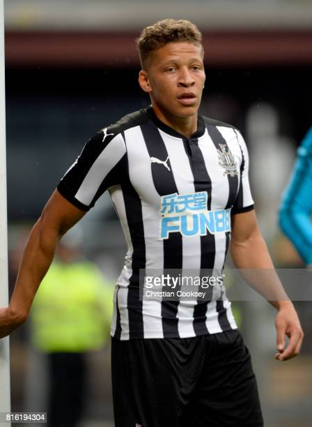 Newcastle's Dwight Gayle during the pre season friendly between Hearts and Newcastle on July 14 2017 in Edinburgh Scotland