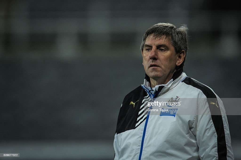 Newcastle's Football development manager <a gi-track='captionPersonalityLinkClicked' href=/galleries/search?phrase=Peter+Beardsley&family=editorial&specificpeople=3308009 ng-click='$event.stopPropagation()'>Peter Beardsley</a> (L) looks out during the Barclays Premier League U21 match between Newcastle United and Stoke City at St.James' Park on February 8, 2016, in Newcastle upon Tyne, England.