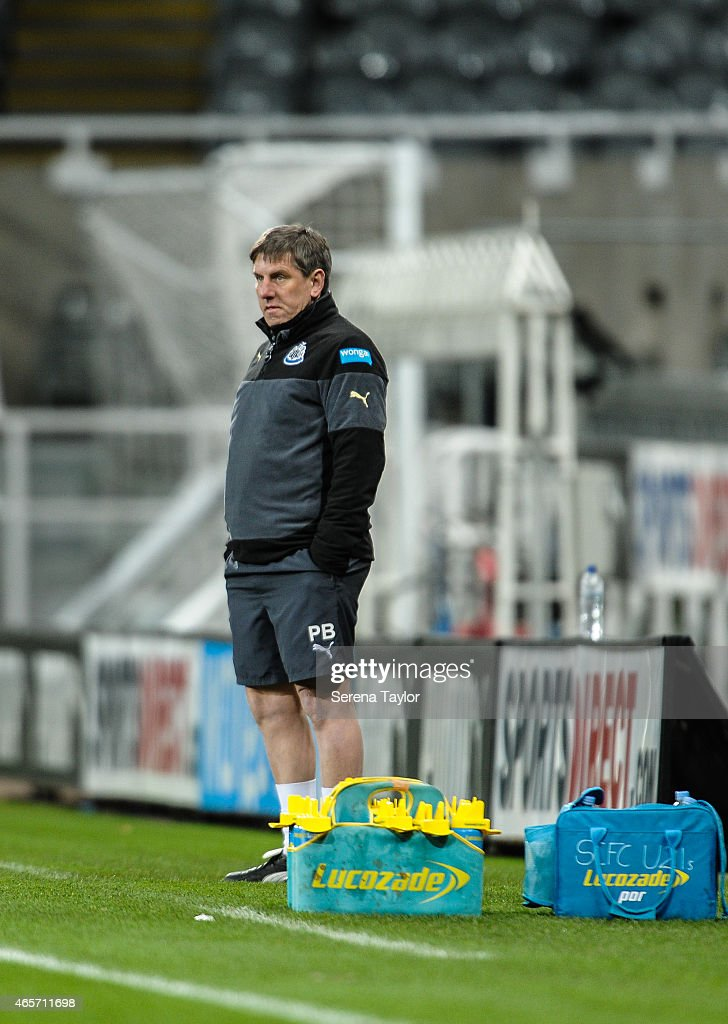 Newcastle's Football Development Manager Peter Beardsley stands on the sidelines during the U21 Barclays Premier League match between Newcastle United and Stoke City at St. James' Park on March 9, 2015, in Newcastle upon Tyne, England, United Kingdom.