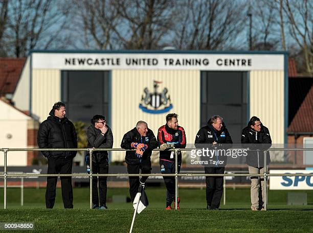 Newcastle's Head Coach Steve McClaren stands with Head of Fitness Alessandro Schoenmaker Goalkeeping coach Simon Smith and Goalkeeper Rob Elliot...